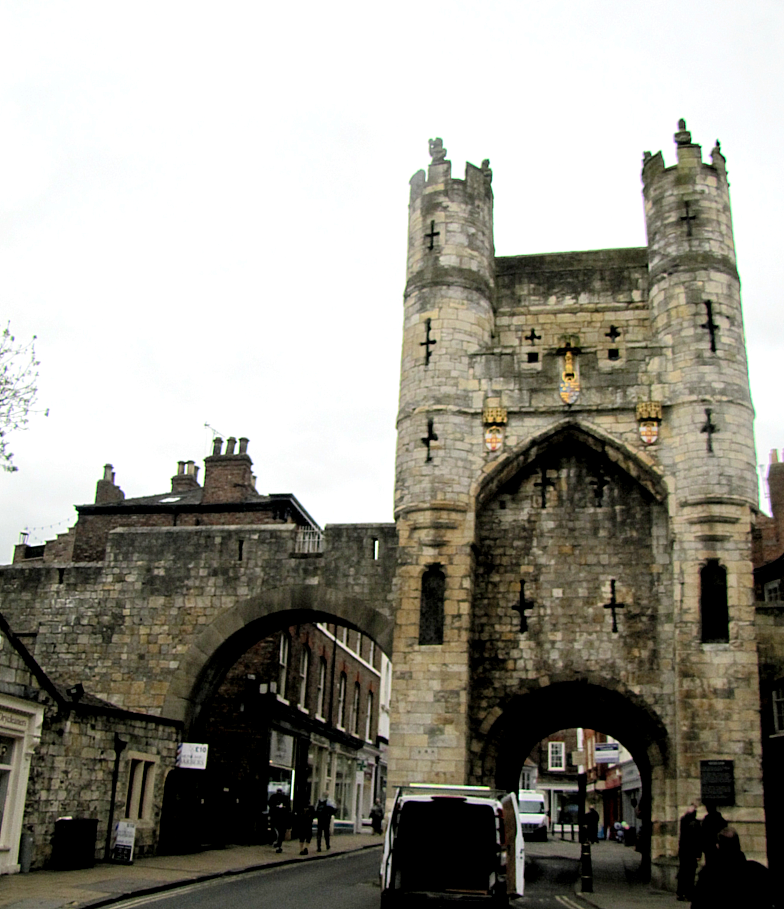 I followed the walls around to Monks Bar. The statues at the top of the towers are called the Wild Men of York, and it is said that, if York is in peril, they will come to life and toss their boulders down on attackers.