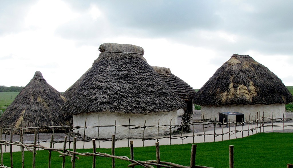 At the visitor centre, before you hop on the shuttle bus, there's a replica neolithic village set up. This is the kind of place the builders of Stonehenge would have lived.