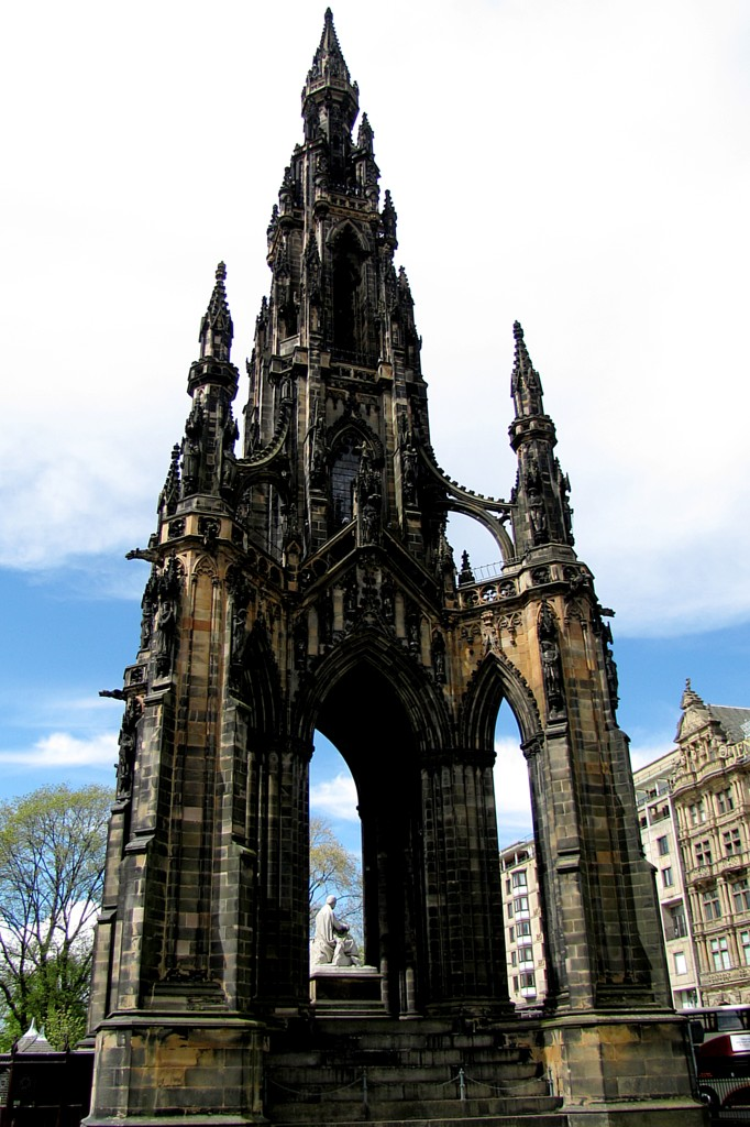 The Scott Monument is right near the bus stop. It's a neat, medieval-style monument. Also, the architect who won the contest to design the monument was found face-down in a canal before it was finished. No one was convicted of killing him, but there WERE 54 other architects who might have been miffed.