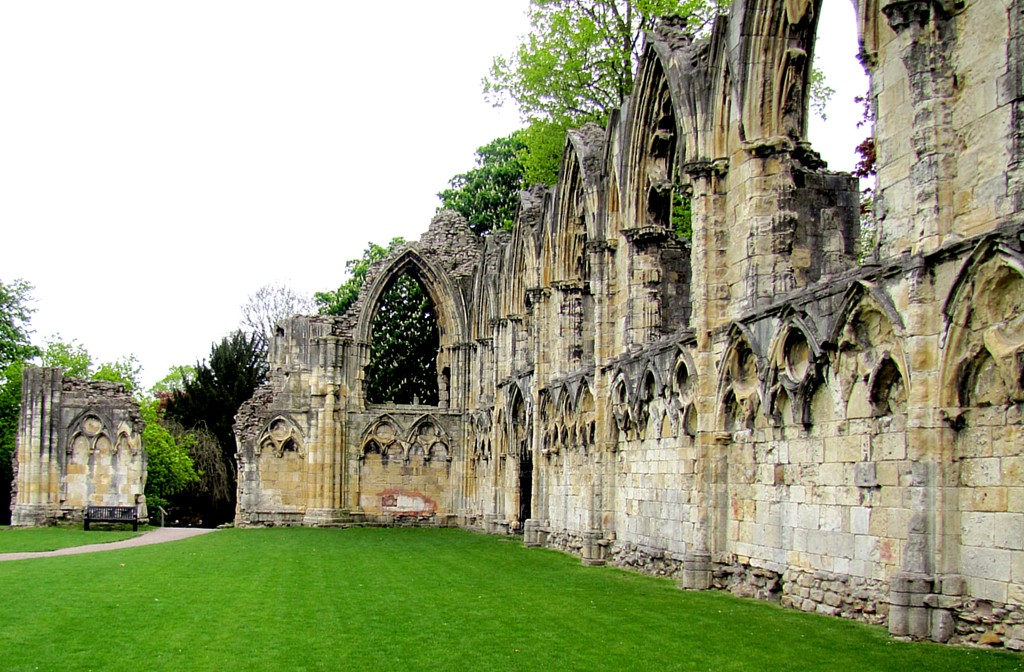 The gardens were once the site of St. Mary's Abbey, just outside the walls of York. It was one of the victims of Henry VIII's dissolution of the monasteries after he broke with the Church of Rome.