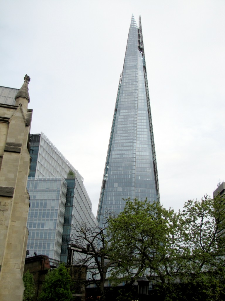 The Shard is a cool, tapered building in London. It's apparently got shops, a hotel, a casino, and amazing views from the top floor. And you can see it from the same spot I took the picture of Southwark Cathedral. I love the mix of old and new.