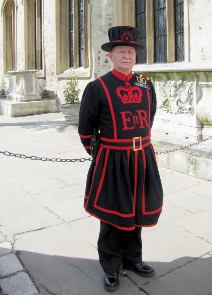 A Yeoman Warder. Each Yeoman Warder must have served at least 22 years in the armed forces, reached the rank of Sergeant Major, and have received the Long Service and Good Conduct medal. According to the Yeoman Warder who led our guided tour, when he applied a year ago, there were 150 applicants for the single opening.