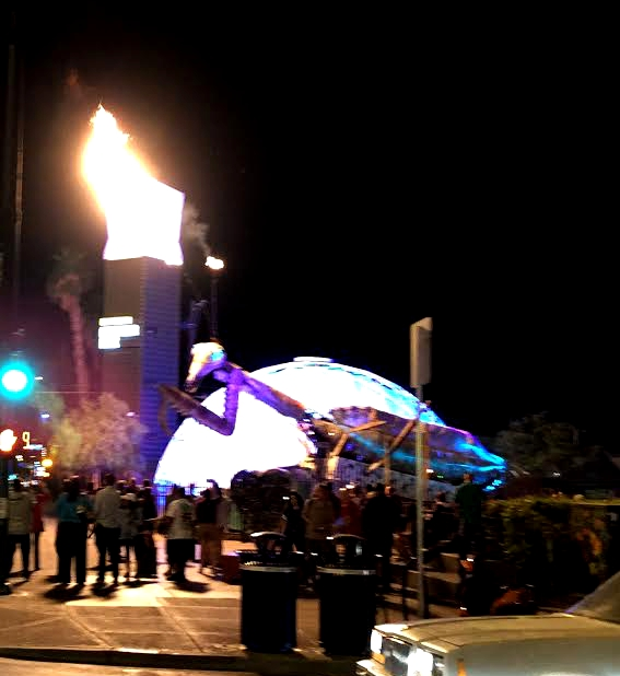 It's a crappy picture, but yes, that's a giant metal mantis that shoots fire from its antennae. And a blue geodesic dome.