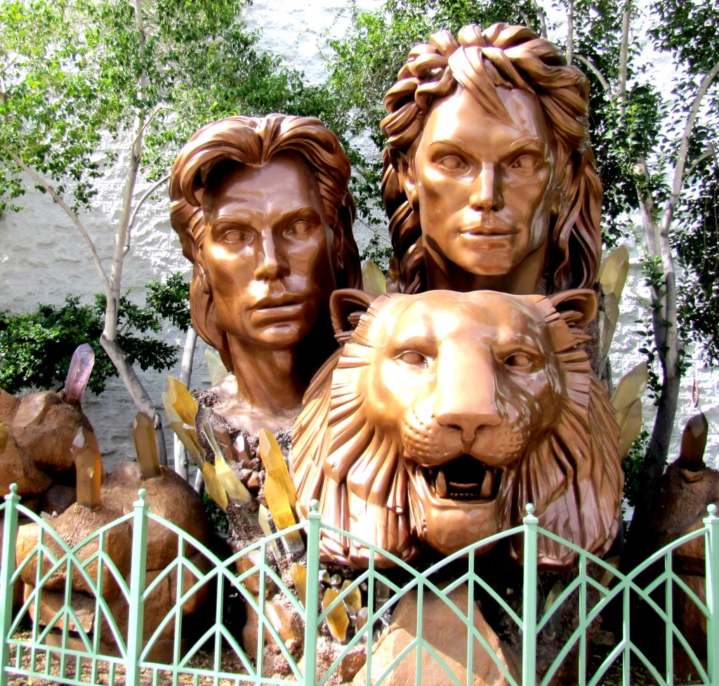 In front of the Mirage, there are bronze heads of Siegfried and Roy, along with one of their tigers. The heads are easily as tall as me.