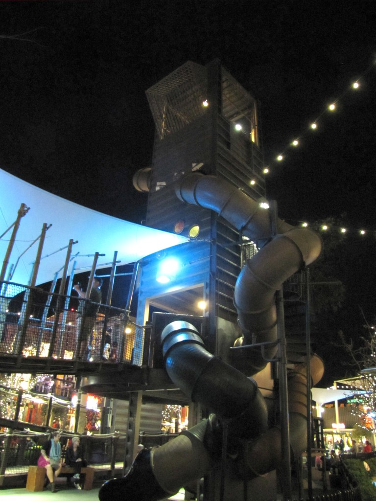 The middle of Container Park has a play area, including an impressive treehouse.